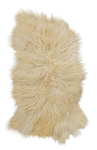 Soft, white, long-hair sheepskin throw