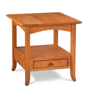 Arts & Crafts style Durham End Table built in solid cherry wood with drawer, arched skirt and flared legs
