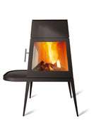 Modern Shaker Style wood-burning stove in black cast iron with short side shelf