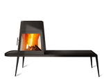 Modern Shaker Style wood-burning stove in black cast iron with long side bench