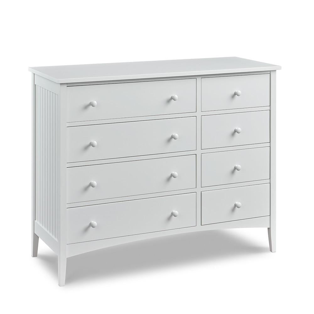 Cottage Dresser with eight drawers and bead board sides, in cottage Fog paint color
