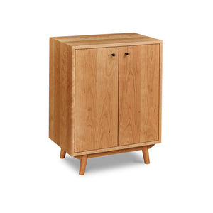 Mid-century Scandinavian inspired sideboard with angled legs in solid cherry wood