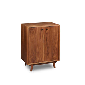 Mid-century Scandinavian inspired sideboard with angled legs in solid walnut wood