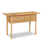 Modern Revelry sideboard with straight turned legs and breadboard ends, built in solid white oak