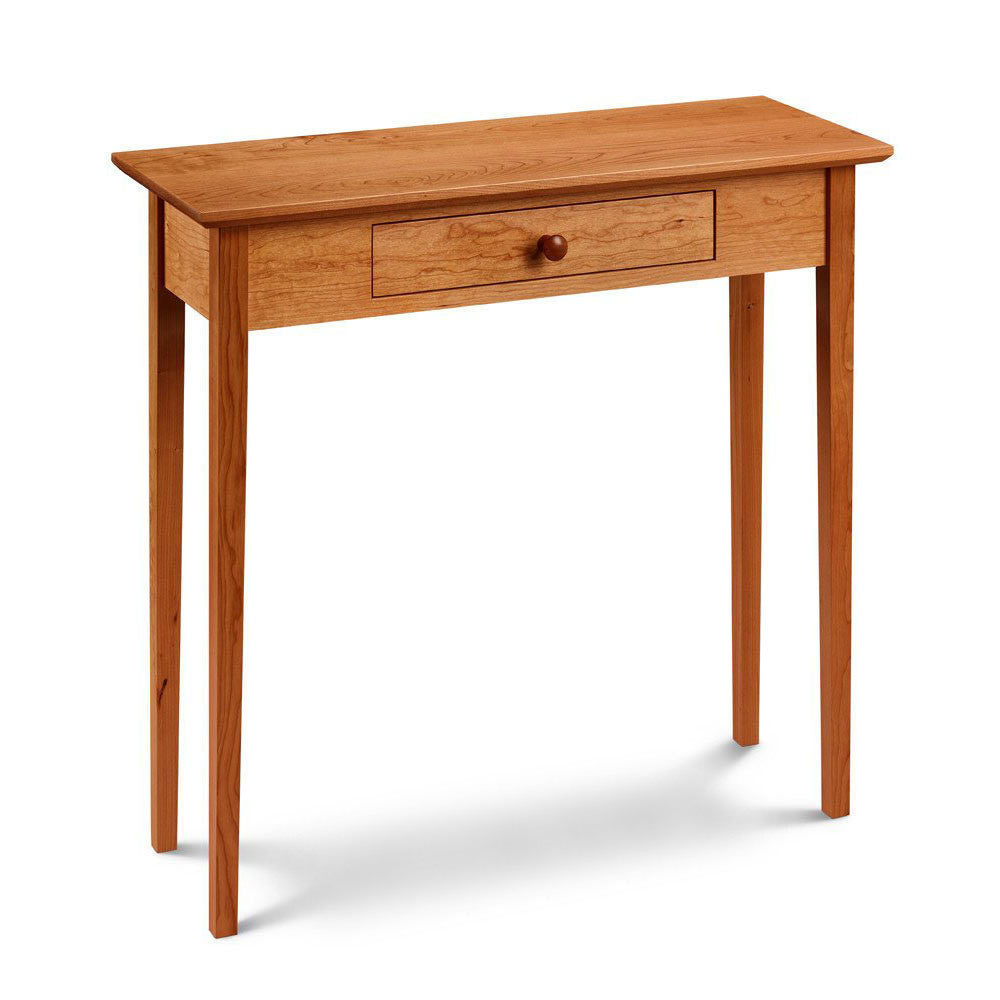 Simple Shaker Hall Table, built in cherry with one drawer and square tapered legs, from Maine's Chilton Furniture Co.
