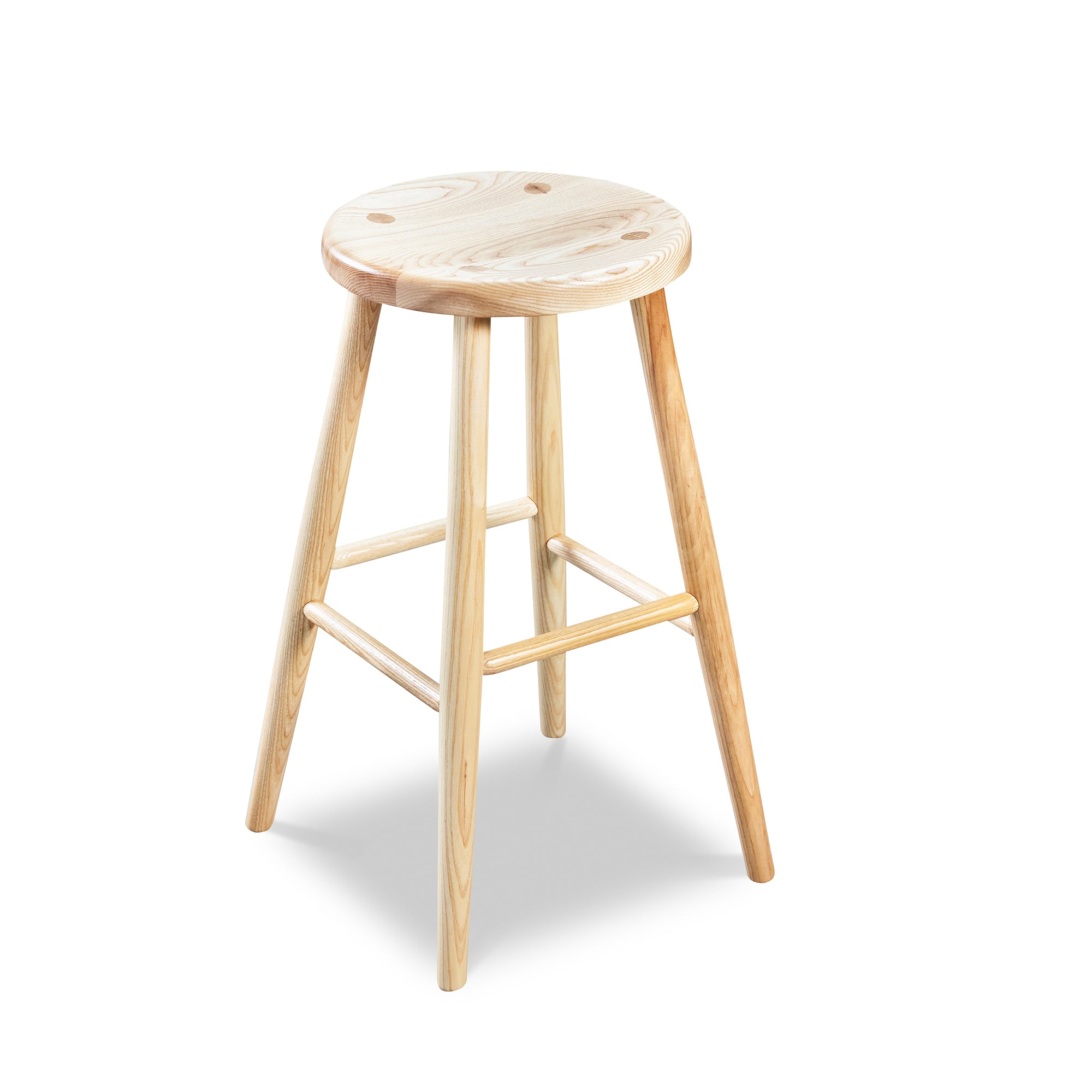 Simple round solid ash wood stool, from Maine's Chilton Furniture Co.