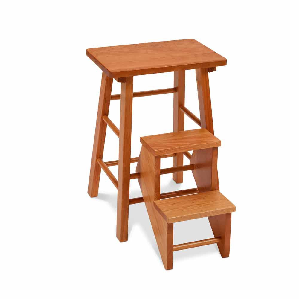 Rectangular cherry stool with two steps that can fold up