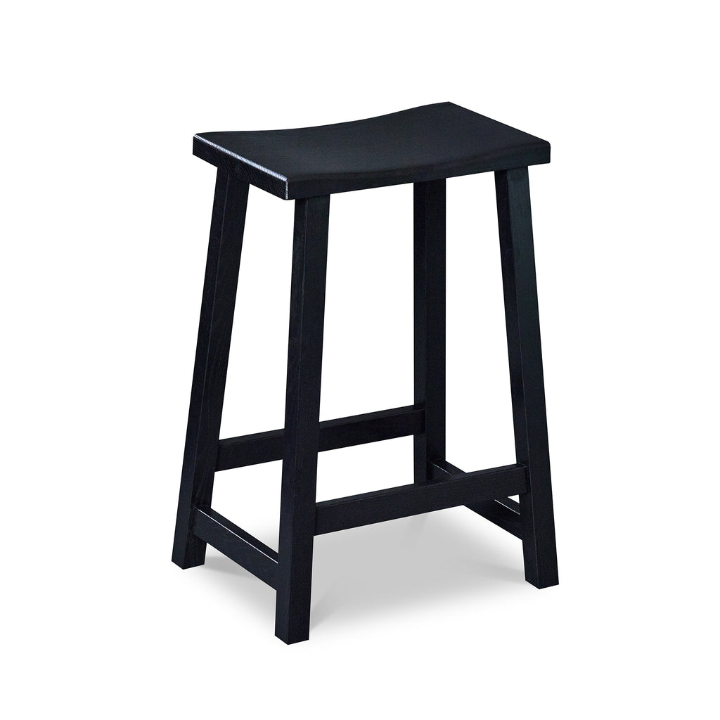 Simple black painted stool with rectangular seat