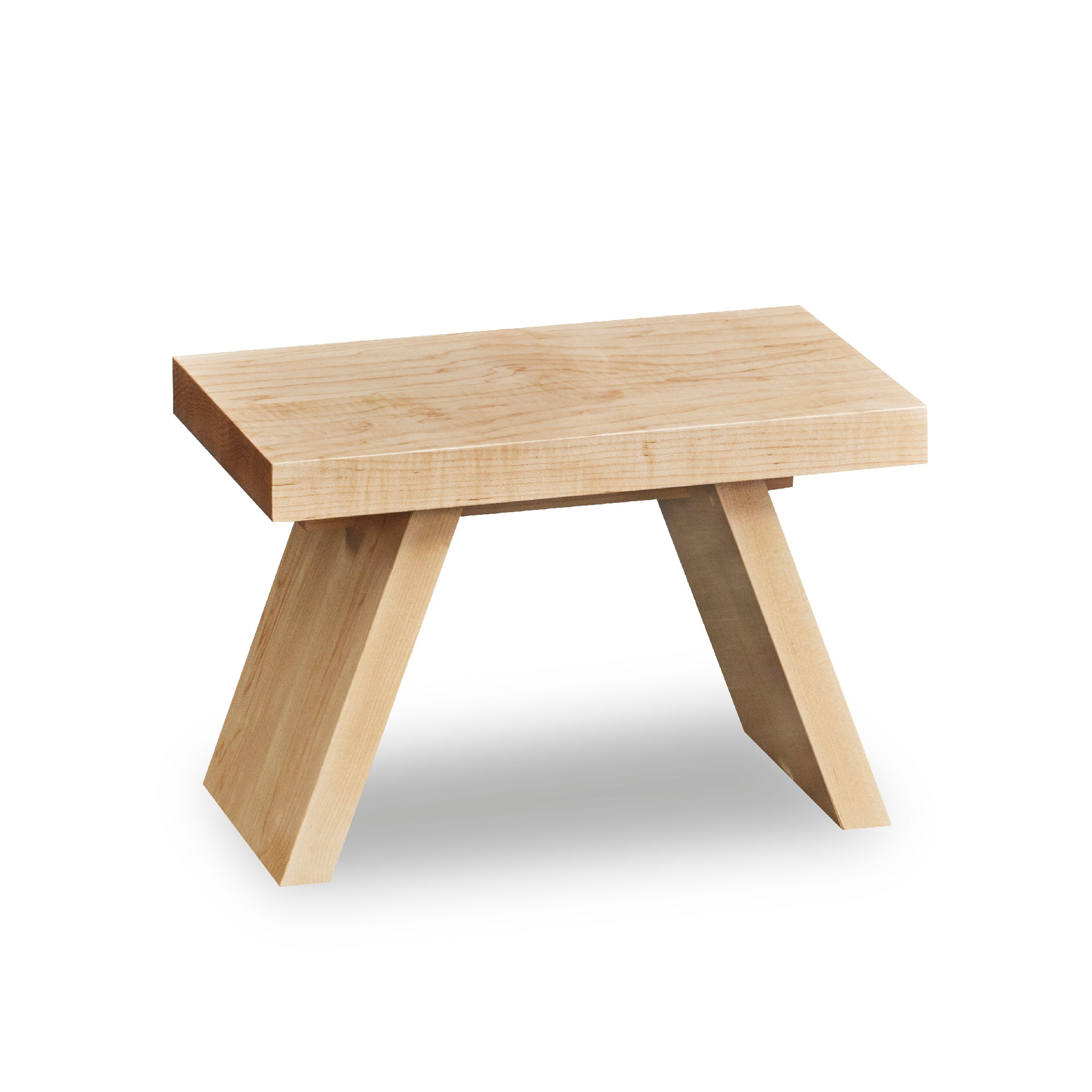 Solid maple wood step stool with angled legs.