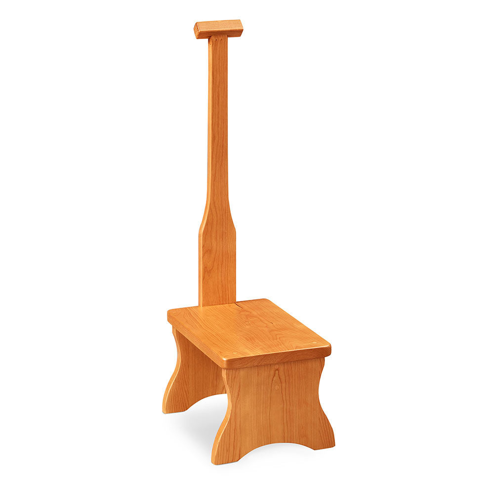 Solid cherry step stool with long handle