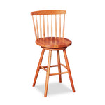 Cherry swivel counter stool with spindle back, from Maine's Chilton Furniture Co.