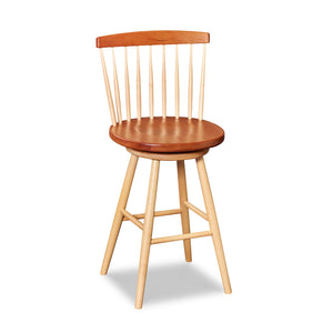 Cherry and maple swivel counter stool with spindle back, from Maine's Chilton Furniture Co.
