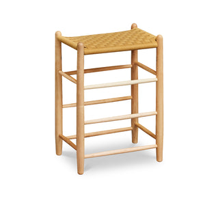 Classic Shaker style stool in maple with woven seat tape