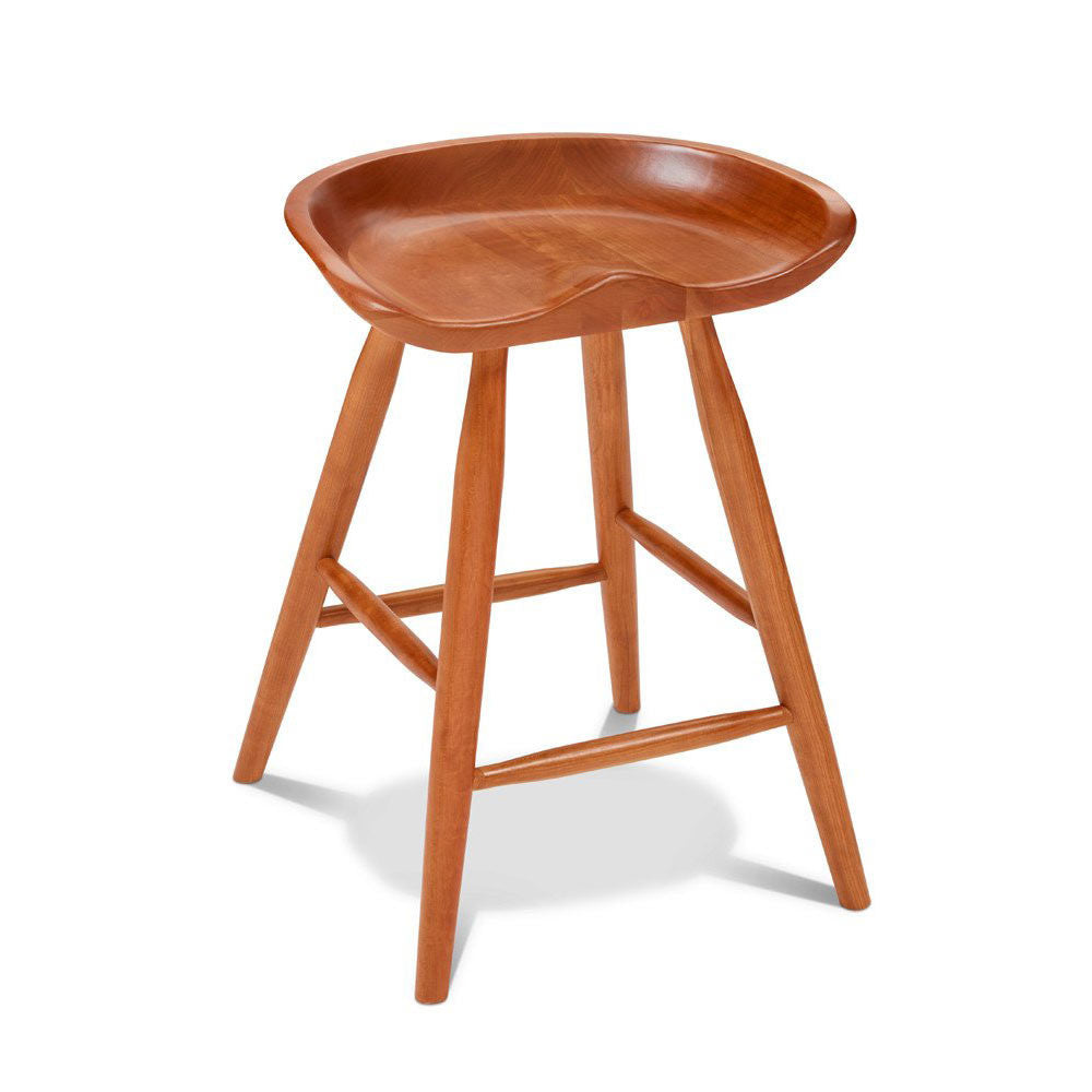 Cherry Winslow stool with sculpted seat