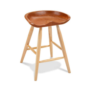 Cherry and maple Winslow stool with sculpted seat