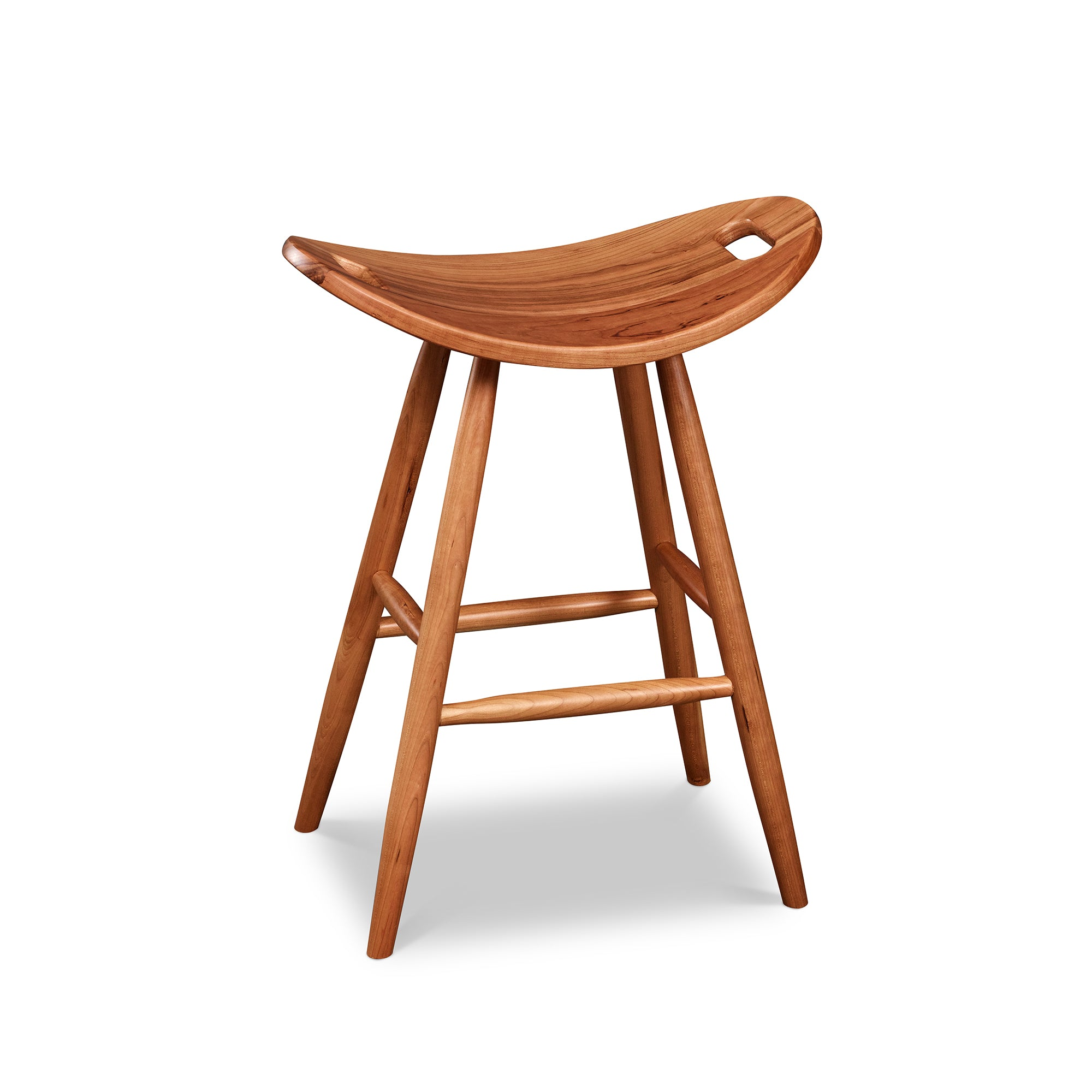Counter height cherry saddle seat stool