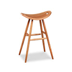 Tall bar height cherry saddle seat stool