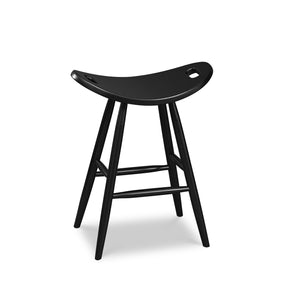 Counter height painted black saddle seat stool