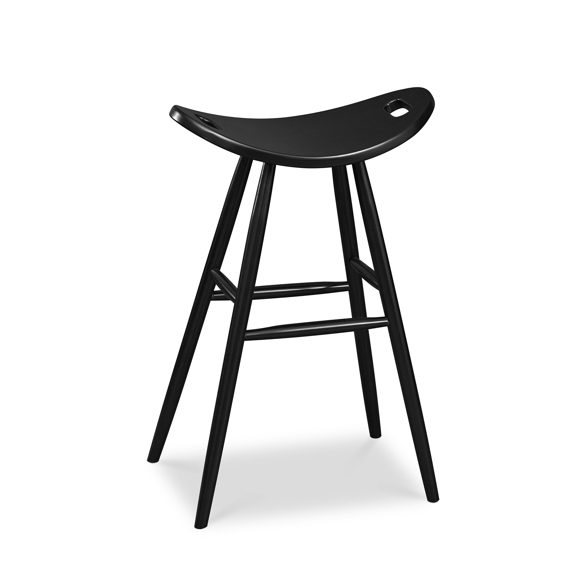 Tall bar height painted black saddle seat stool