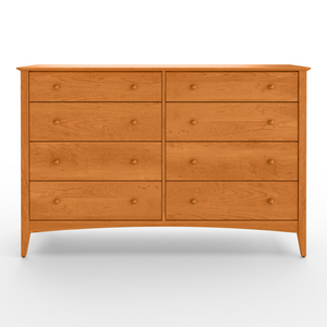 Shaker style six drawer Penobscot bedroom dresser, with arched apron and tapered legs, in cherry wood