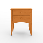 Shaker style Penobscot nightstand with two drawers, an arched apron and tapered legs, in cherry wood