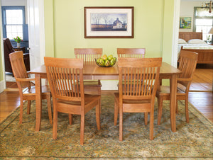 Farmhouse dining room with Boothbay dining table and Dunstan chairs, in cherry