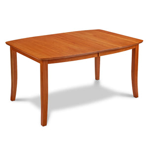 Boat shaped dining table with flared leg, in cherry