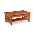 Solid cherry wood mission style coffee table with low shelf