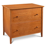 Large file office storage with two drawers in cherry wood, from Maine's Chilton Furniture Co.