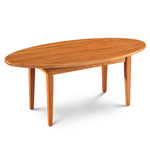 Simple Shaker Coffee Table, built in cherry with oval top and square tapered legs