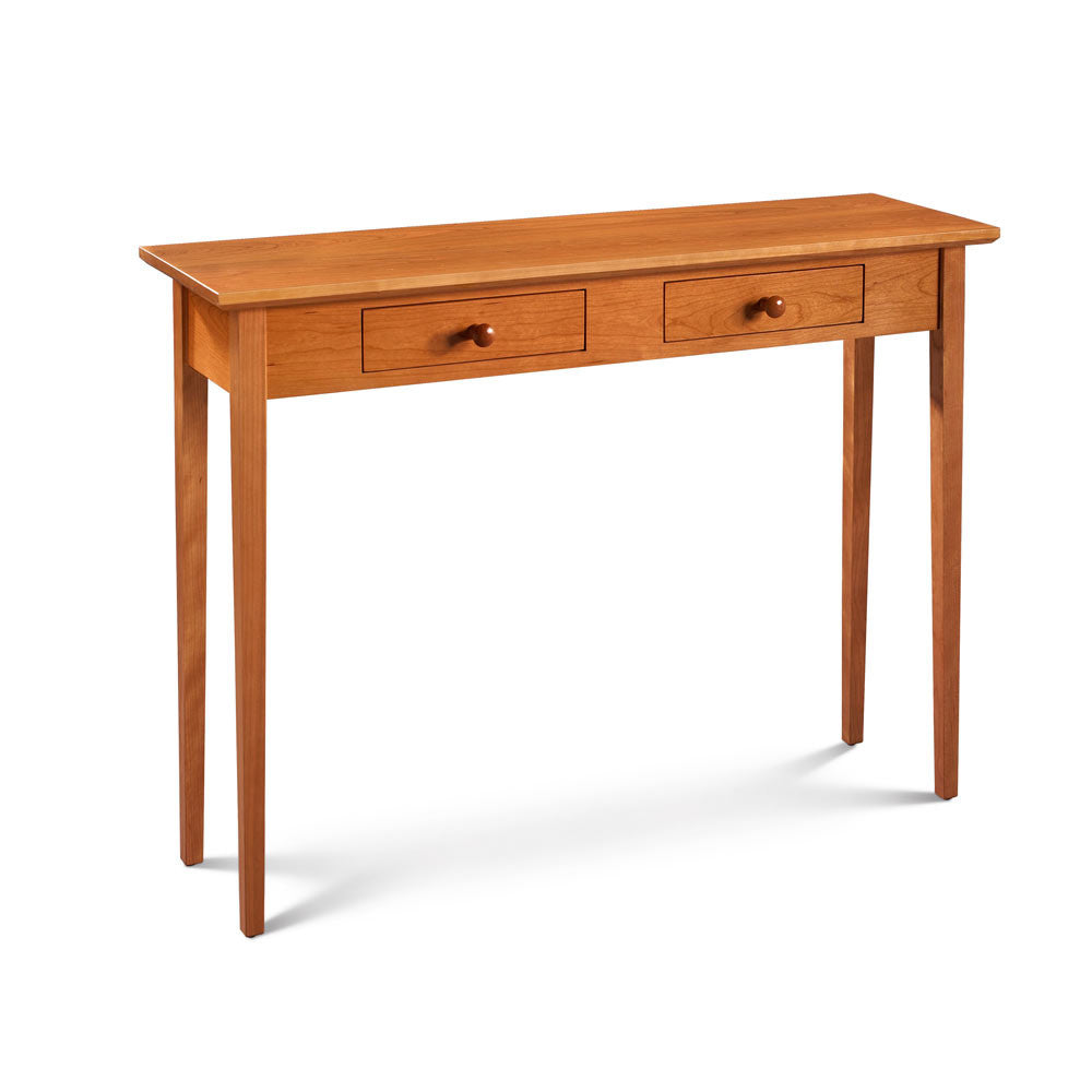 Wide Shaker Hall Table, built in cherry with two drawers and square tapered legs, from Maine's Chilton Furniture Co.