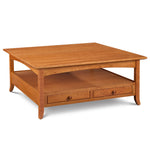 Arts & Crafts style Durham Square Coffee Table built in solid cherry wood with drawers, arched skirt and flared legs