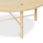 Joinery and stretcher design on round Scandinavian style Navarend coffee table