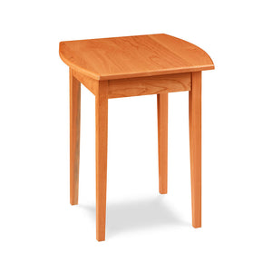"Shaker style cherry wood side table, with a curved ""boat shaped"" side edge"