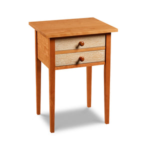 Shaker style, two drawer lamp stand in cherry wood with bird's eye maple drawer fronts, from Maine's Chilton Furniture Co.