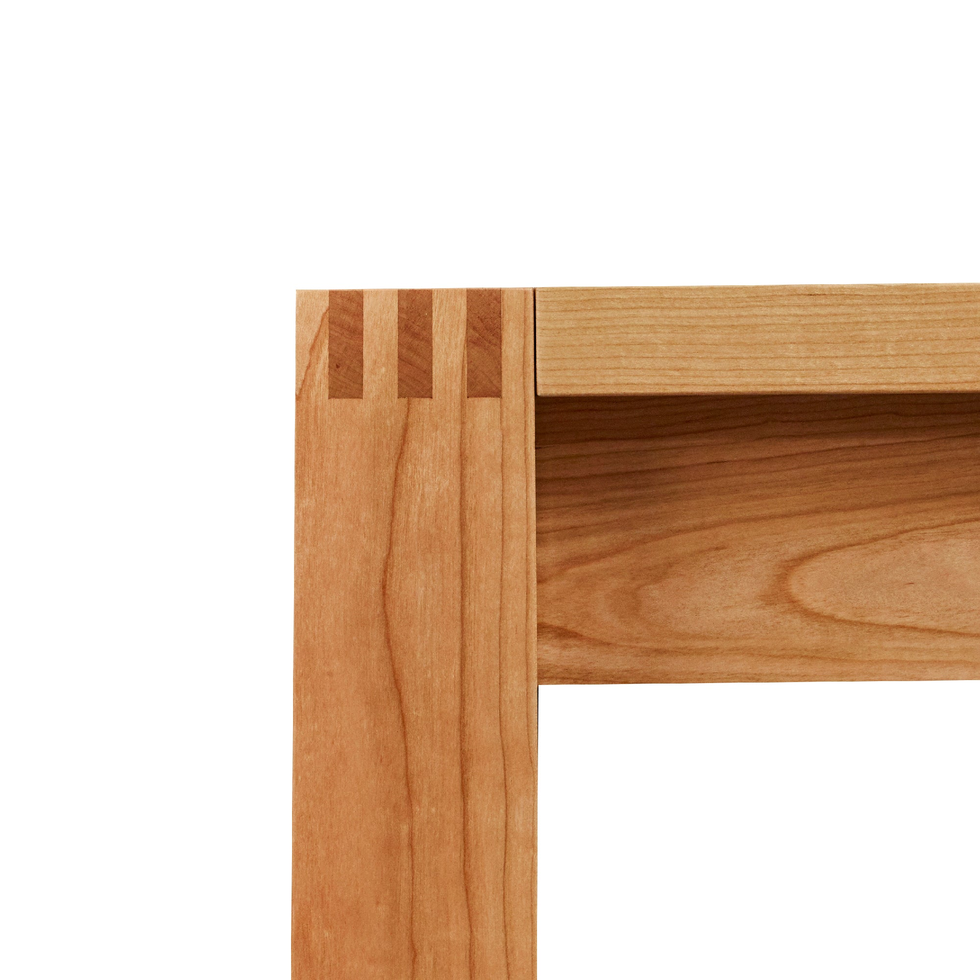 Finger joinery in solid cherry on the Harbor Dining Table