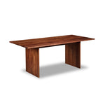 Modern handcrafted wood dining table with panel style legs in solid walnut.