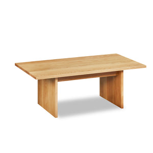 Modern handcrafted wood coffee table with trestle panel style legs in solid white oak