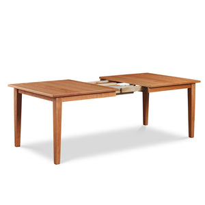 Shaker style cherry wood extension dining table showing extension mechanism