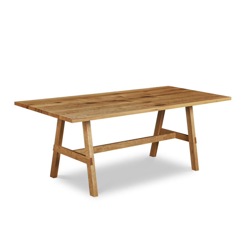 Reclaimed White Oak trestle table from Chilton Furniture Co. in Maine