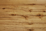Detail of reclaimed white oak wood table top of North Dining Table