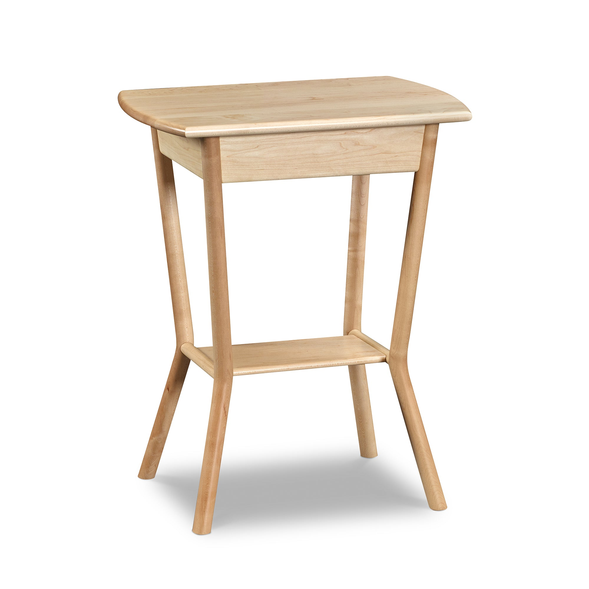 Mid-century modern Marker Side Table in solid maple wood with bent legs and low shelf