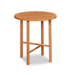 Round Scandinavian style end table with round legs in cherry
