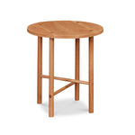 Round Scandinavian style end table with round legs in white oak