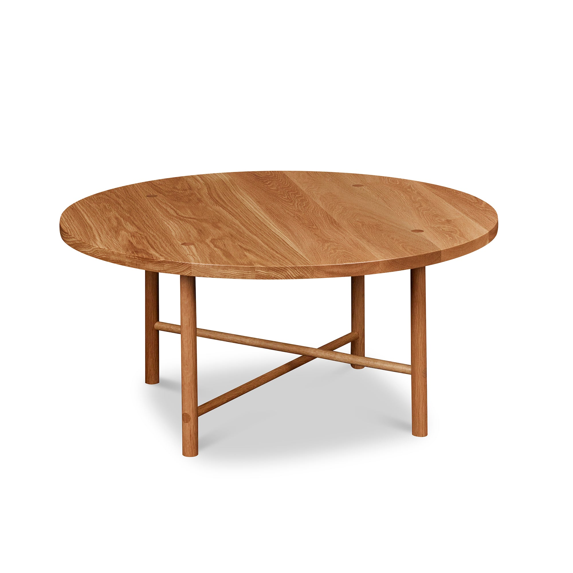 Round Scandinavian style coffee table with round legs in white oak
