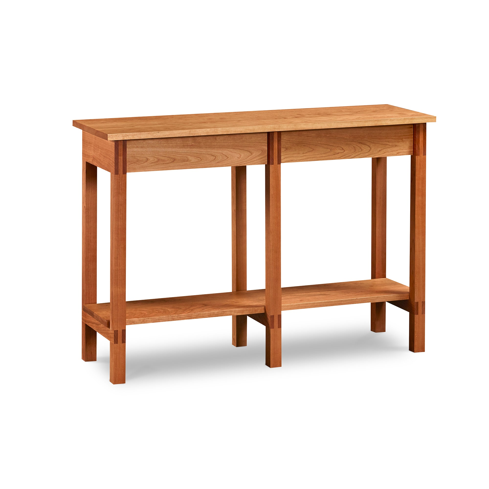 Modern sideboard with shelf and visible joinery in cherry, from Maine's Chilton Furniture Co.