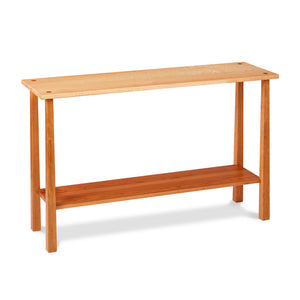 Kittery Sofa Table with low shelf in solid cherry and birds eye maple with square reverse tapered legs