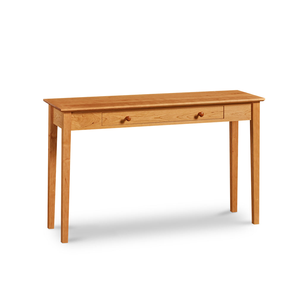 Wide and thin Shaker Sofa Table, built in cherry with one drawer and square tapered legs, from Maine's Chilton Furniture Co.