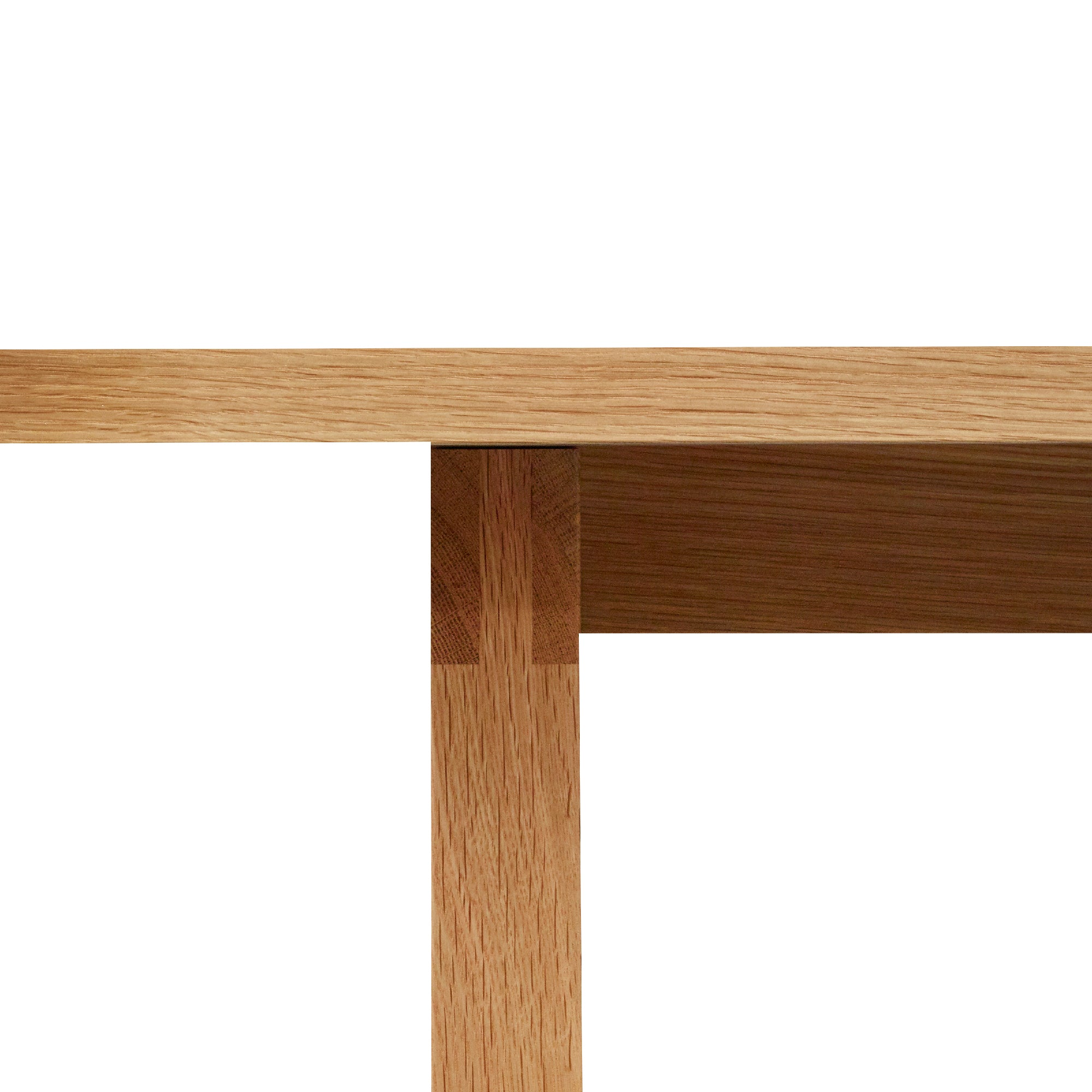 Mortise and tenon joinery in solid white oak on the Union Dining Table