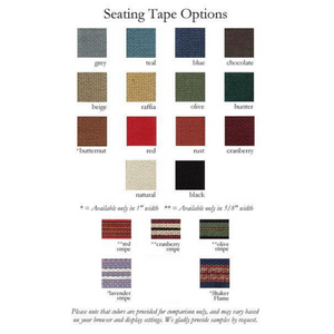 List of 19 tape options for woven seat of Tappan bar stool, from Maine's Chilton Furniture Co.